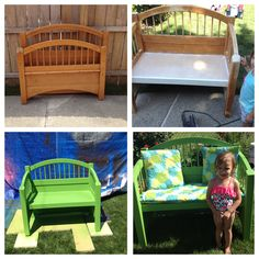 Bed into bench. Twin bed headboard and footboard. Kids patio furniture. DIY