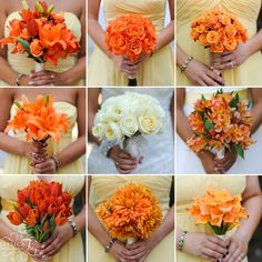 Bridesmaids bouquets: orange arrangments. roses, lilies, tulips, dahlias, calla lilies, spray roses, alstroemeria.