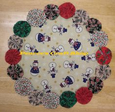 Christmas Doily, Snowman Print Fabric, Holiday Linens, Winter Accent, Country Farmhouse Style, Table Cloth
