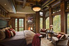 Master bedroom - I like the beams and windows.