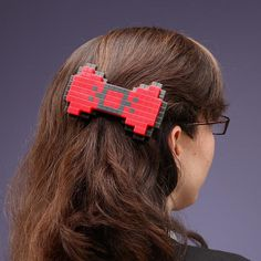 This pixel hair bow is cute and geeky! ( #fashion #geek #nerdy #gamer )