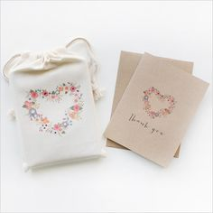 blushing hearts thank you cards, set of 12 cards with envelopes and drawstring bag.