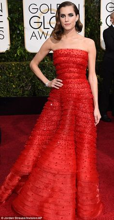 One of the Girls: Lena's co-star Allison Williams wore a beaded strapless gown...