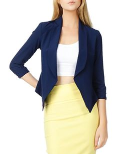 79fc9b5a RubyK Womens Ultra Lightweight Summer Open Front Draped Tuxedo Blazer at Amazon  Women's Clothing store: