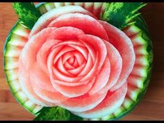 How to Make Watermelon Roses | Beautiful Rose Flower Watermelon Garnish | Food Decoration - YouTube