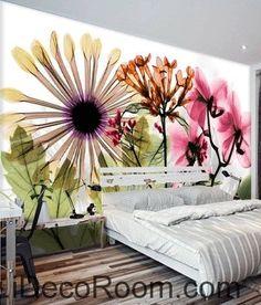Beautiful dream fresh colorful flowers daisy transparent flowers wall art wall decor mural wallpaper wall  IDCWP-000202