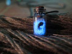 Blue Wishing Bottle Glowing necklace  Glow by KarlWorldArt on Etsy