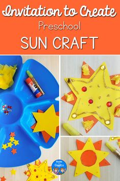 This summer invitation to create sun crafts allows preschoolers to be creative and explore engaging materials. Perfect for summer sun theme or space theme units. Space Activities For Kids, Space Crafts For Kids, Creative Arts And Crafts, Learning Activities, Preschool Activities, Kids Crafts, Toddler Art, Toddler Gifts, Toddler Preschool