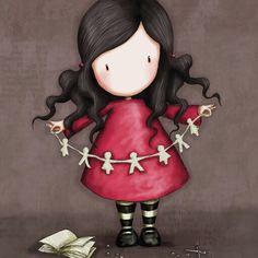 Gorjuss con muñecos de papel