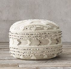 Moroccan Wedding Pouf - Round - Natural