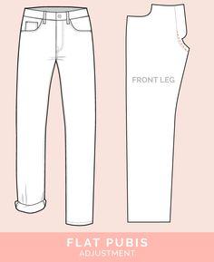 Flat Pubis Adjustment // 12 common jeans and pants adjustments // Closet Case Files