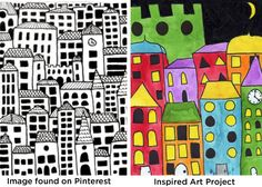 Art Projects for Kids: Layered Cityscape Painting