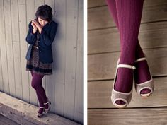 Peep toes and colored tights. This reminds me of Mckay