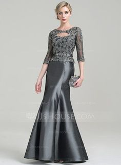 [CHF 163.61] Trumpet/Mermaid Scoop Neck Floor-Length Taffeta Mother of the Bride Dress With Beading Appliques Lace Sequins (008085305)
