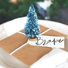 Make this simple Mini Christmas Tree Place card for your holiday gathering!