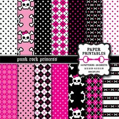 Punk Rock Princess Scrapbook Printable Paper Pack