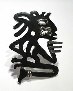 RARE Crown Trifari Aztec Sculpture Figure Modernist Abstract Brooch Pin | eBay