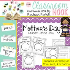 Mother's Day - Student Gift  Hi from The Classroom Nook! Want a quick gift idea for your students to make for their moms this week? This cute Mother's Day book is a perfect (and FREE!) You'll find a mom aunt and grandma version as well!  Enjoy!  Mother's Day mother's day gifts
