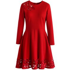 Chicwish Grace Butterflies Cutout Dress in Red ($68) ❤ liked on Polyvore featuring dresses, red, layered dress, butterfly print dress, red cut out dress, red layered dress and embellished dresses