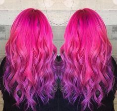 Pink and purple ombre  By @pulpriothair
