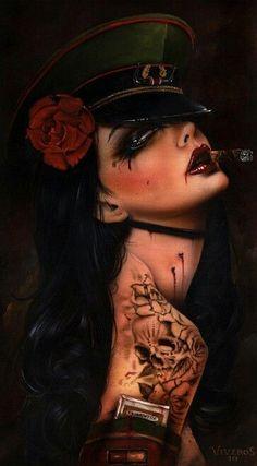 Art by Brian M. Viveros Illustrations Detail page Myartpin Tattoo Cover, Tattoo Zeichnungen, Chicano Art, Tatoo Art, Pop Surrealism, Gothic Art, Pin Up Art, Up Girl, Dark Art