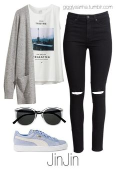 Picnic // JinJin by suga-infires ❤ liked on Polyvore featuring Uniqlo, HM, Puma and Retrò