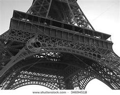 Close Up Of Base Of Eiffel Tower, Paris In Black And White Stock Photo ...