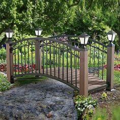 Sunjoy Steel Bridge with LED Light, Multi Outdoor Décor Pond Bridge, Garden Bridge, Home Landscaping, Front Yard Landscaping, Rustic Gardens, Outdoor Gardens, Patio Under Decks, Steel Bridge, Outdoor Living