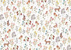 Sonia Cavallini Pattern flowers rabbits illustration http://soniacavallini.tictail.com/