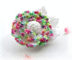 Hand Crochet  Anchor Cotton Corsage Brooch  by CraftsbySigita on Etsy