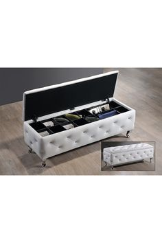 White Stella Crystal Storage Bench by Wholesale Interiors on @HauteLook