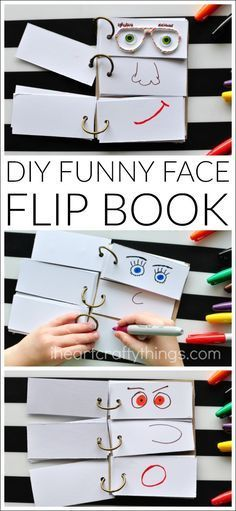 This DIY Funny Face Flip Book is simple to put together and will keep the kids creatively entertained all afternoon. - This DIY Funny Face Flip Book is simple to put together and will keep the kids c. Summer Activities For Kids, Craft Activities, Toddler Activities, Summer Kids, Summer Food, Babysitting Activities, Activity Toys, Kids Activity Ideas, Paper Games For Kids