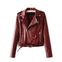 Brown Faux Leather Belted Moto Jacket With Zipper ($42) ❤ liked on Polyvore featuring outerwear, jackets, vegan moto jacket, red jacket, brown faux leather jacket, moto jacket and red motorcycle jacket