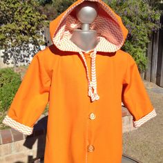 """Tangerine Dream Full Length Toddler """"Hoodie"""" Coat, Orange & White Mini Chevron Cotton Flannel Lining, Pixie Hood, Button and Loop Front Closure, Toddler Size 2T-3T - Super Cute!! Baby Suzanna Johanna - Etsy"""