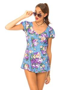 Motel Trudie Button Up Playsuit  In Pastel Flower, TopShop, ASOS, House of Fraser, Nasty gal