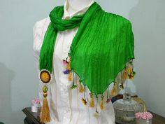 green pure silk scarf