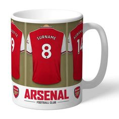 One of our best-selling Arsenal FC gifts of all time, this personalised dressing room mug is the ultimate must-have for any Arsenal FC fan. Fully licensed and approved by Arsenal FC themselves, you can be assured of quality and authenticity. Arsenal Fc, Arsenal Football, Football Team, Personalised Gifts For Him, Personalized Christmas Gifts, Personalized Football, Personalized Mugs, Birthday Gifts For Boys, Boy Birthday