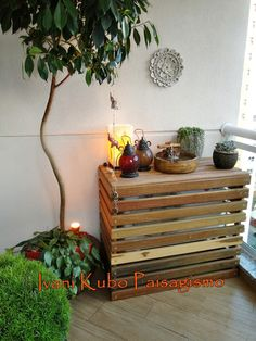 Bilderesultat for how to hide air conditioner balcony Pergola Ideas For Patio, Pergola Decorations, Condo Balcony, Shade House, Outdoor Shade, Pergola Attached To House, Bathroom Design Small, Sweet Home, Outdoor Decor