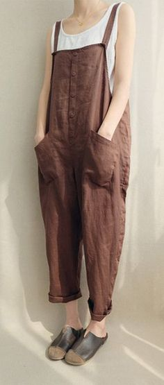a18e0770373 Casual Women Solid Color Strappy Pocket Loose Harem Jumpsuit Hippie  Outfits