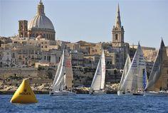 Middle Sea Race - coastal race start line - best start-line backdrop on earth - raced with Atlantic Charters http://www.atlanticcharters.co.uk/yacht-racing/Rolex-Middle-Sea-Race.aspx