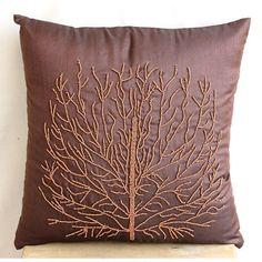 Brown Beade Orange Tree Pillows Cover, Art Silk Pillow Covers 18X18 - Woody Tree