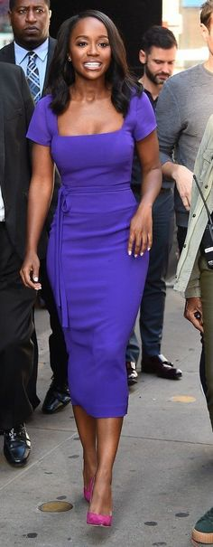 Aja Naomi King in Rochas paired with Jimmy Choo pumps outside 'Good Morning America'. #bestdressed