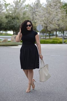 (plus size) Turtle Neck & Checker Burn Out Skirt + Cuyana leather tote