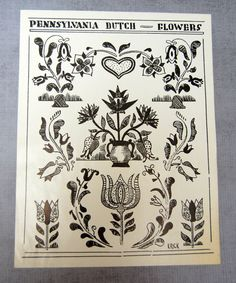 Pennsylvania Dutch Folk Art Example Flowers by VintagePaperology, $10.00