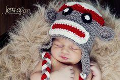Sock Monkey Crochet Baby Hat by BabyChunkyCheeks on Etsy, $25.00