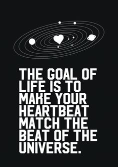 The goal of life is to make your heartbeat match the beat of the universe.