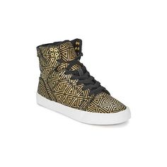 Supra SKYTOP Shoes ($115) ❤ liked on Polyvore featuring shoes, hi tops, supra shoes, gold shoes, supra footwear and gold high top shoes
