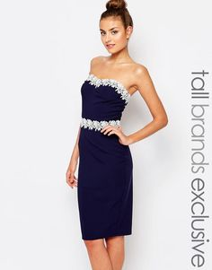 Image 1 ofPaper Dolls Tall Bandeau Pencil Dress With Lace Trim