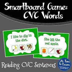 CVC Words: Reading CVC Sentences Game for Smartboard/Promethean Board!