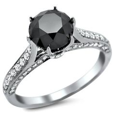2.25Ct Black Round Diamond Engagement Ring 14K by FrontJewelers, $1495.00